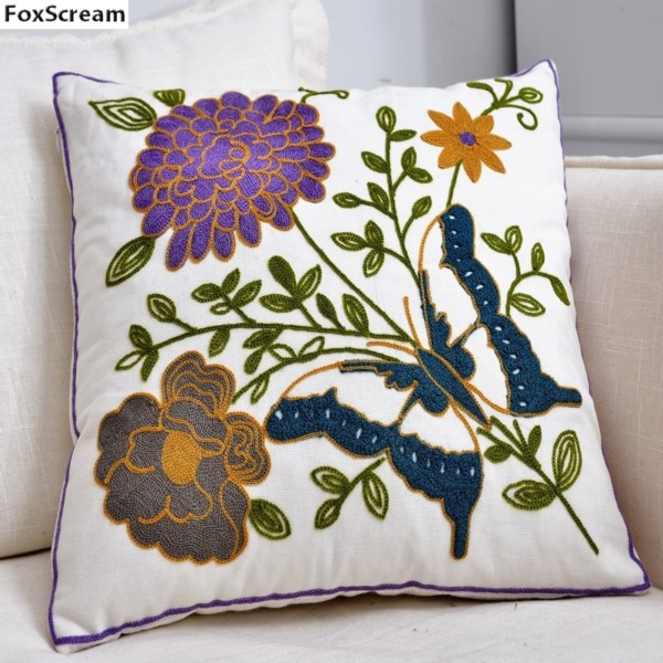 Peacock Embroidered Cushions Cover Home Decor Blue Decorative Pillows Case Animal Embroidery Pillowcase Red Cushions For Sofa